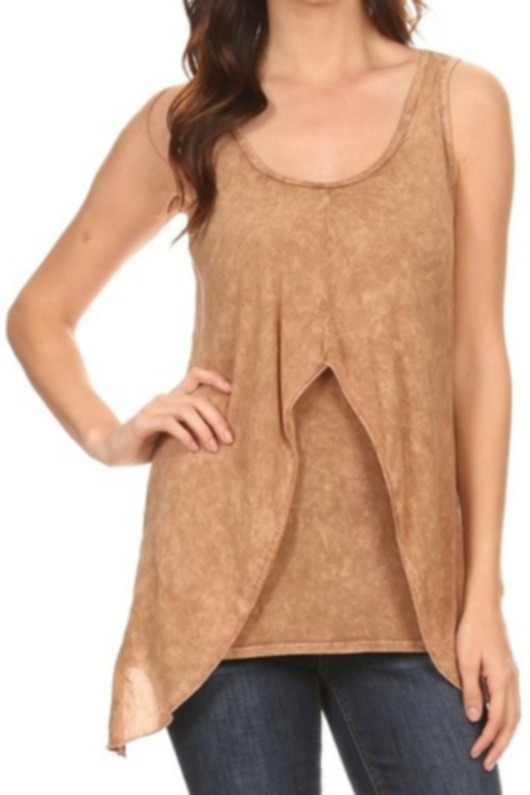 T Party Front Layered Mineral Washed Tank Top - Front Cropped Image