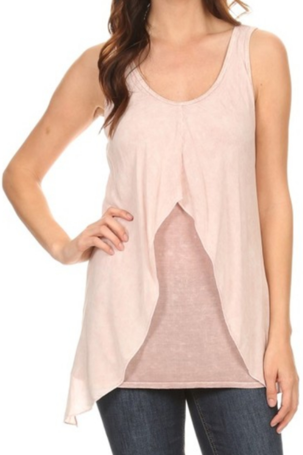 T Party Front Layered Mineral Washed Tank Top - Main Image