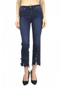 Tractr Front Slit Bow Tie Slim Leg Ankle Jean - Product List Image