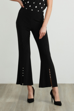Joseph Ribkoff  Front Slit Flare Pants accented with pearl detailing. - Product List Image