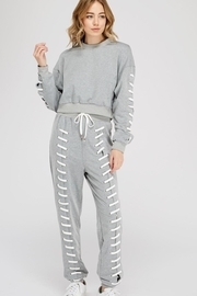 blue blush Front Stitching Sweatpants - Product Mini Image