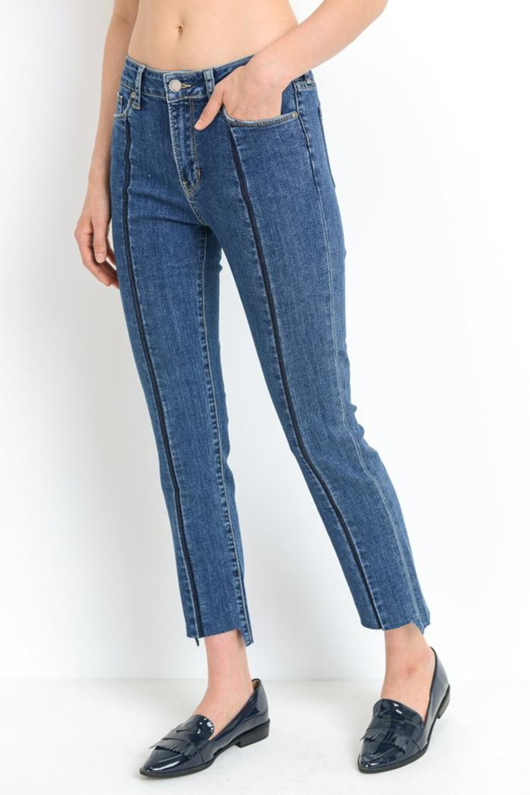 just black Front Stripe Jeans - Front Full Image