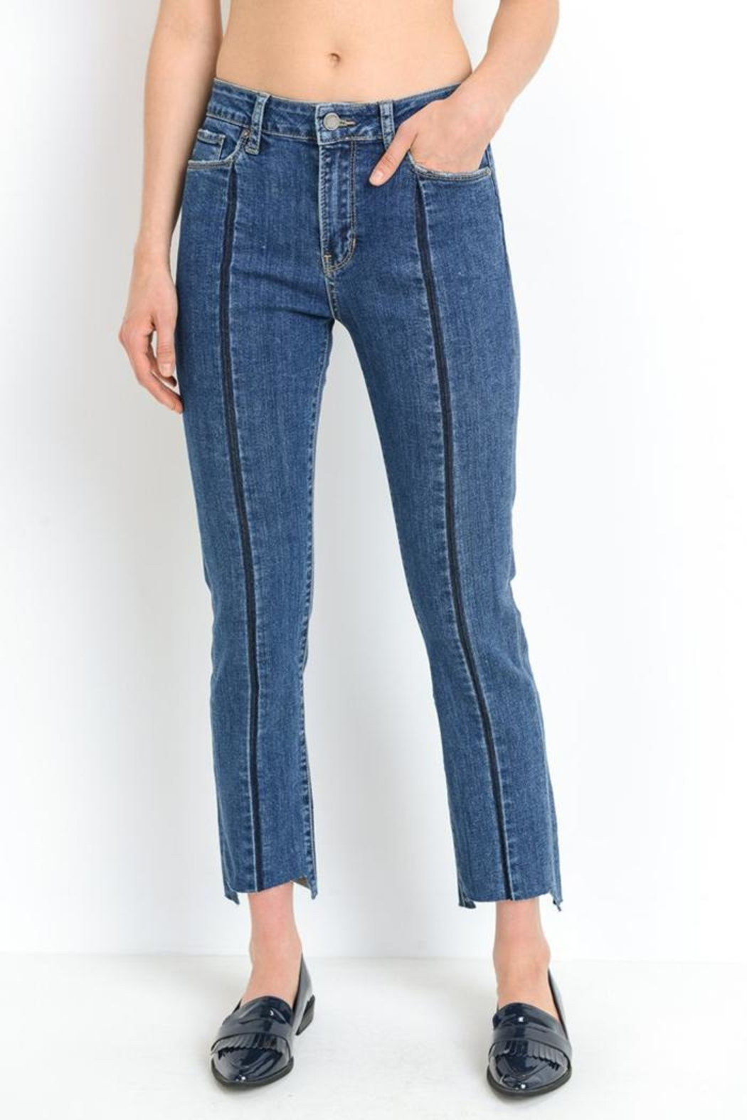 just black Front Stripe Jeans - Main Image