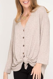 She + Sky Front-Tie Button-Down Top - Product Mini Image