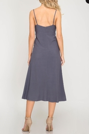 She + Sky Front-Tie Button Midi-Dress - Front full body