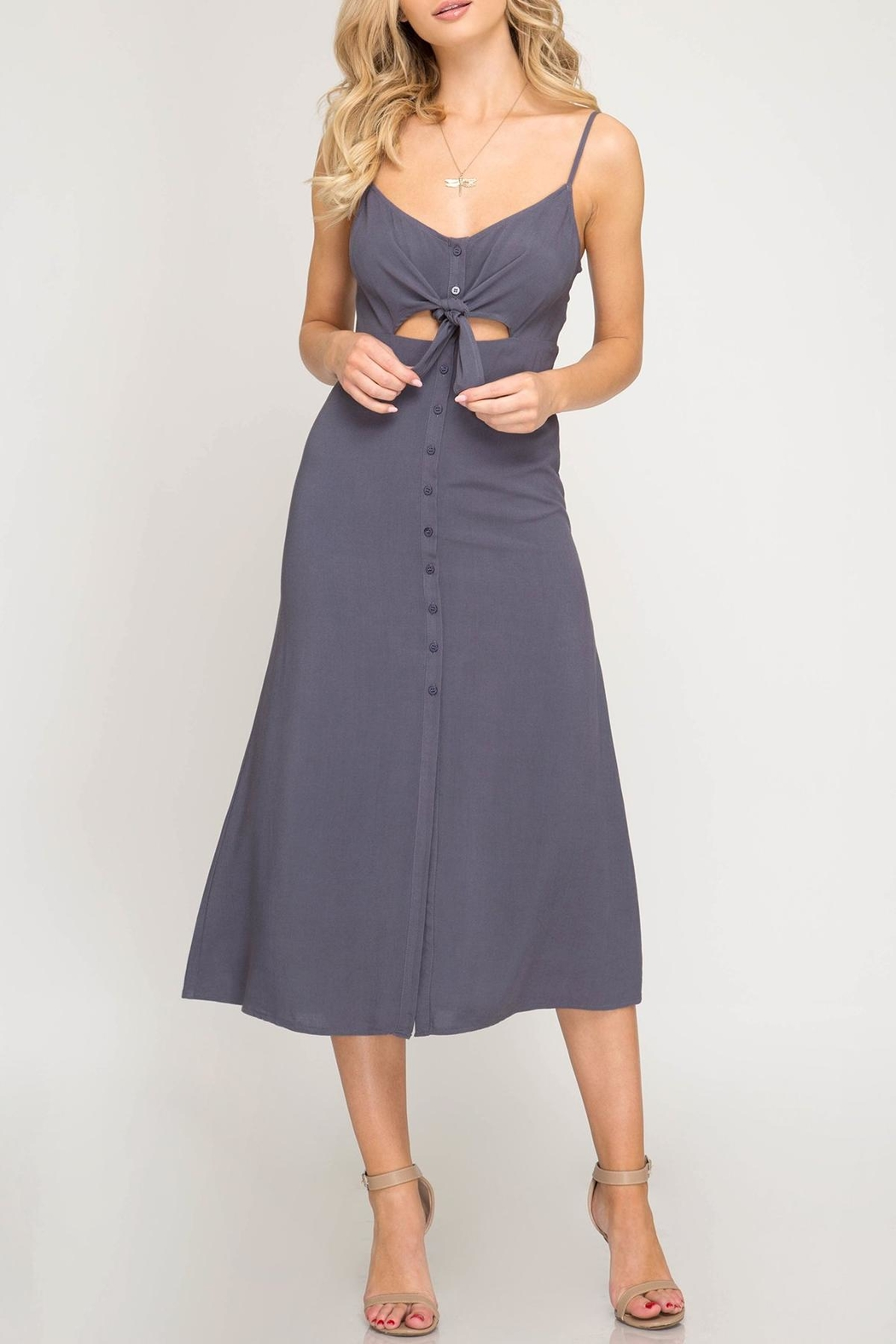 She + Sky Front-Tie Button Midi-Dress - Main Image