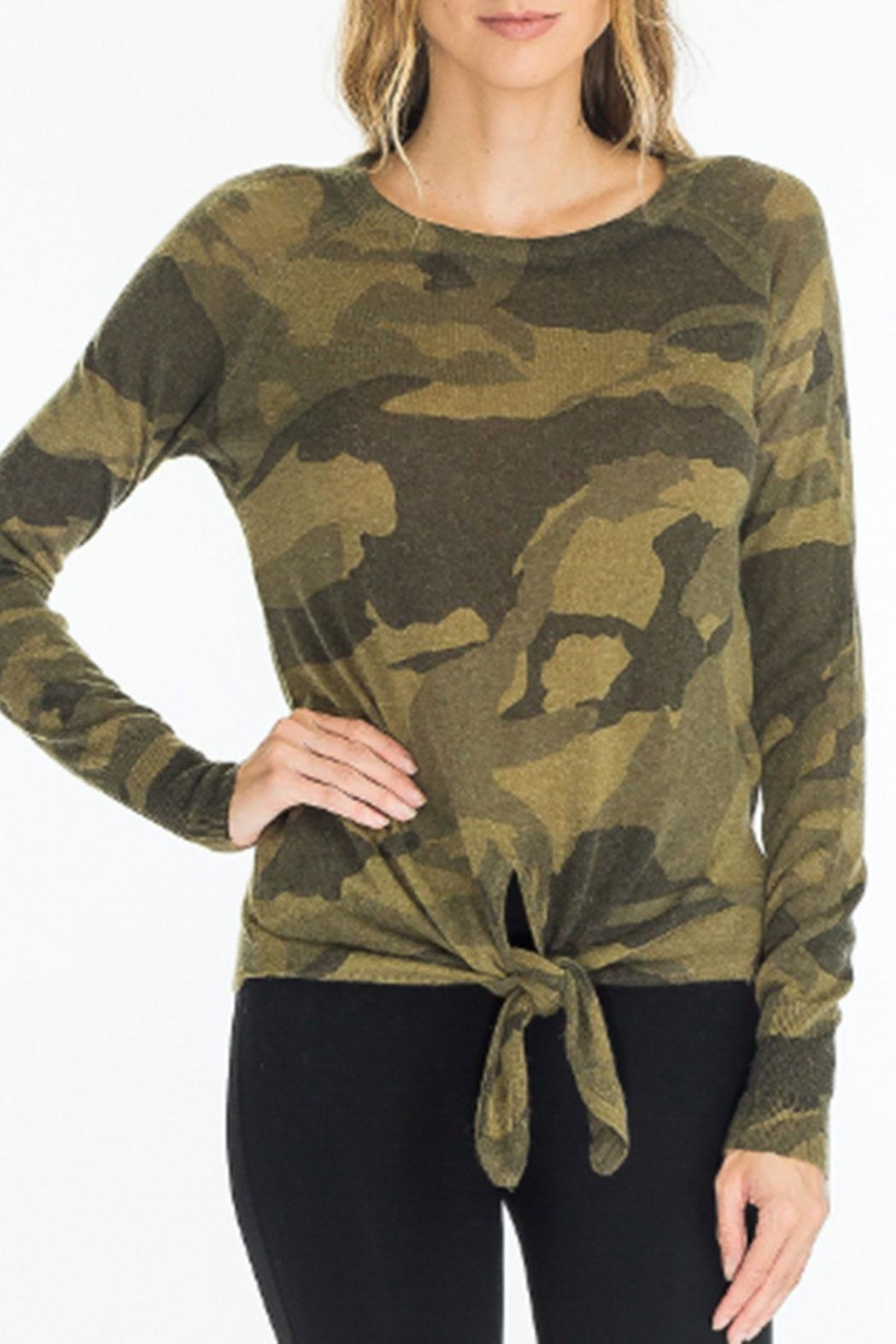 Olivaceous Front-Tie Camo Sweater - Main Image