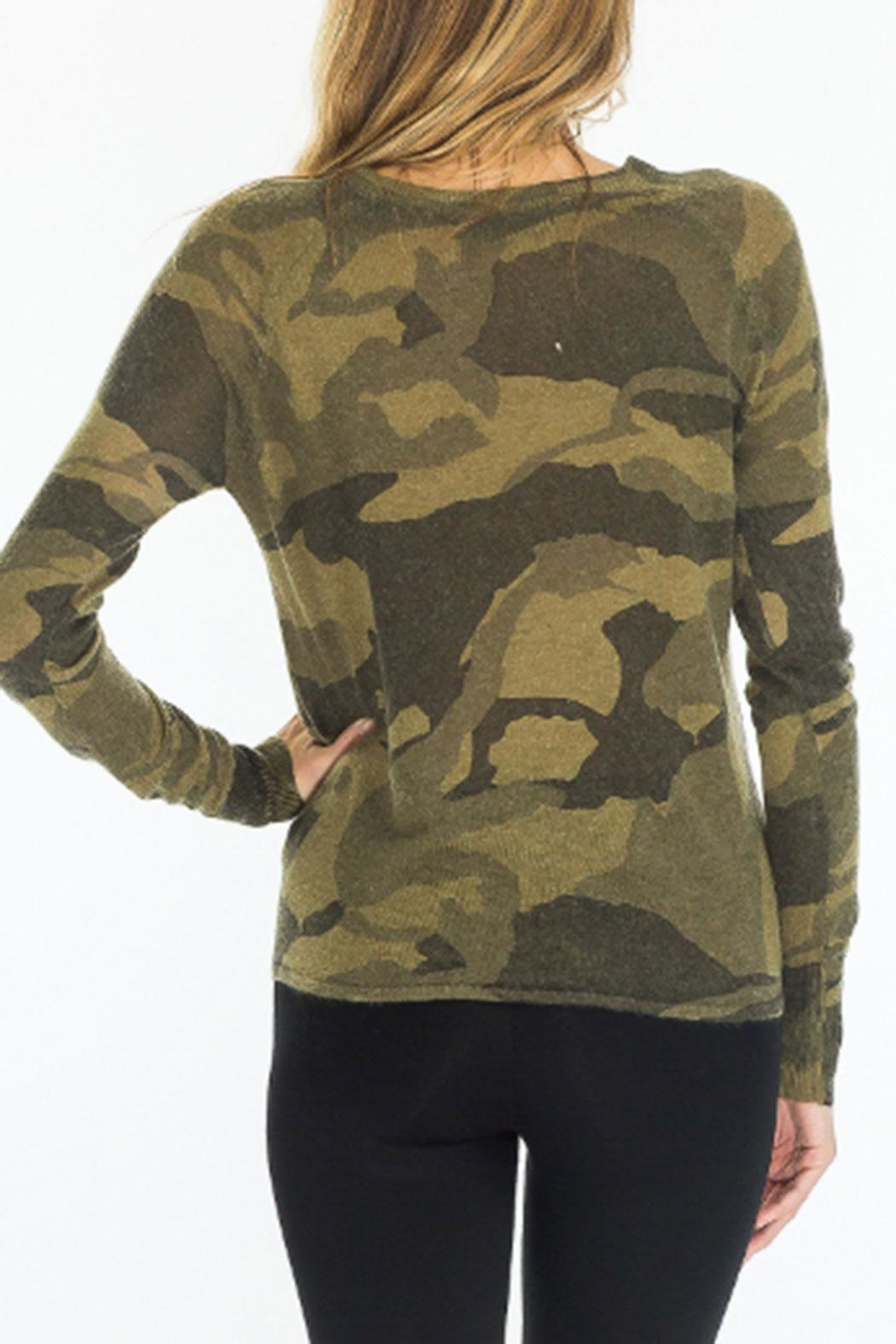 Olivaceous Front-Tie Camo Sweater - Side Cropped Image