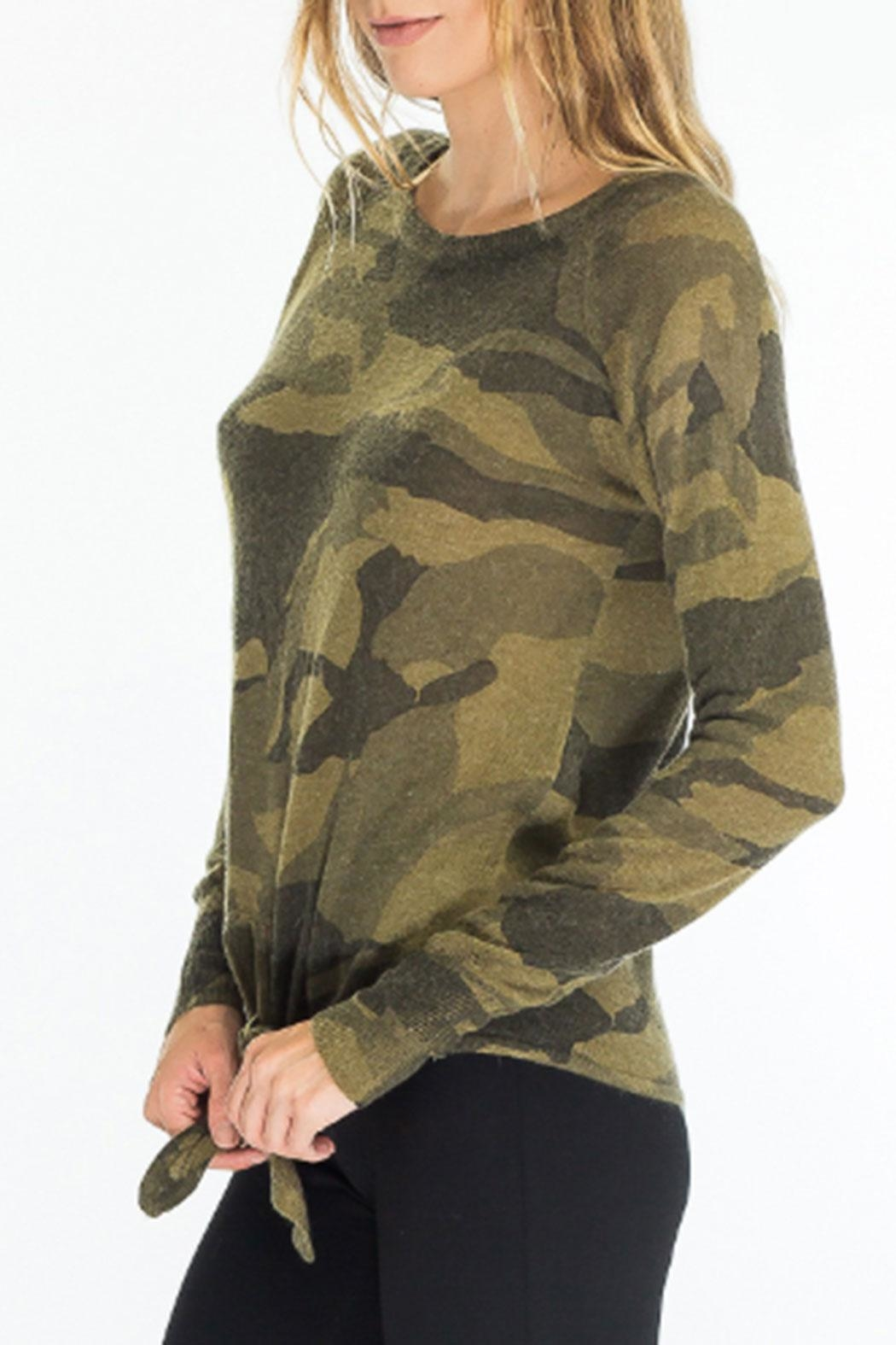 Olivaceous Front-Tie Camo Sweater - Front Full Image