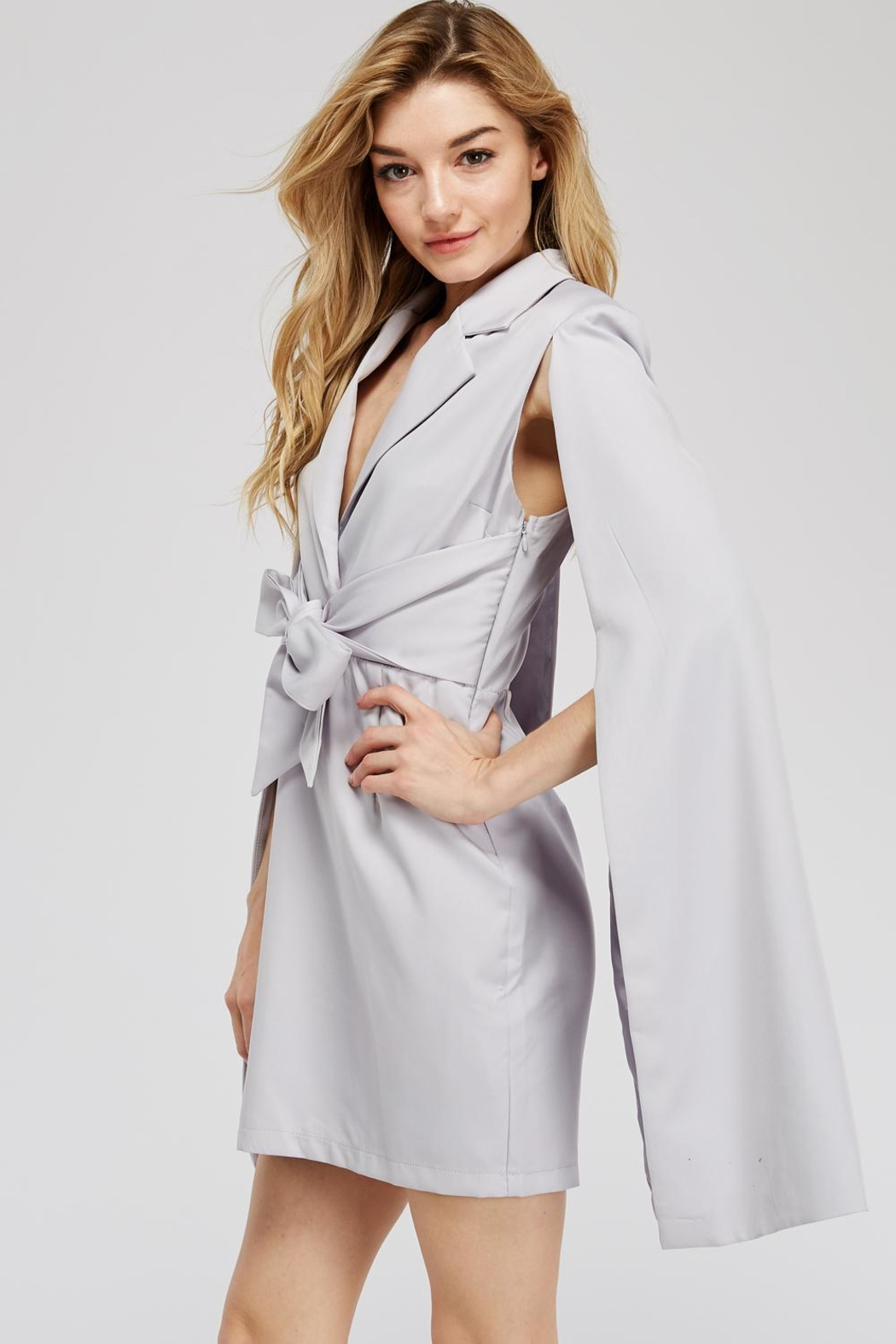 Blithe  Front-Tie Cape Dress - Front Full Image