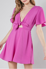 Do-Be Front tie flare dress - Front cropped