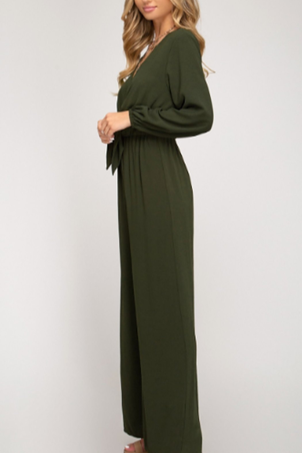 She + Sky Front Tie Jumpsuit - Side Cropped Image