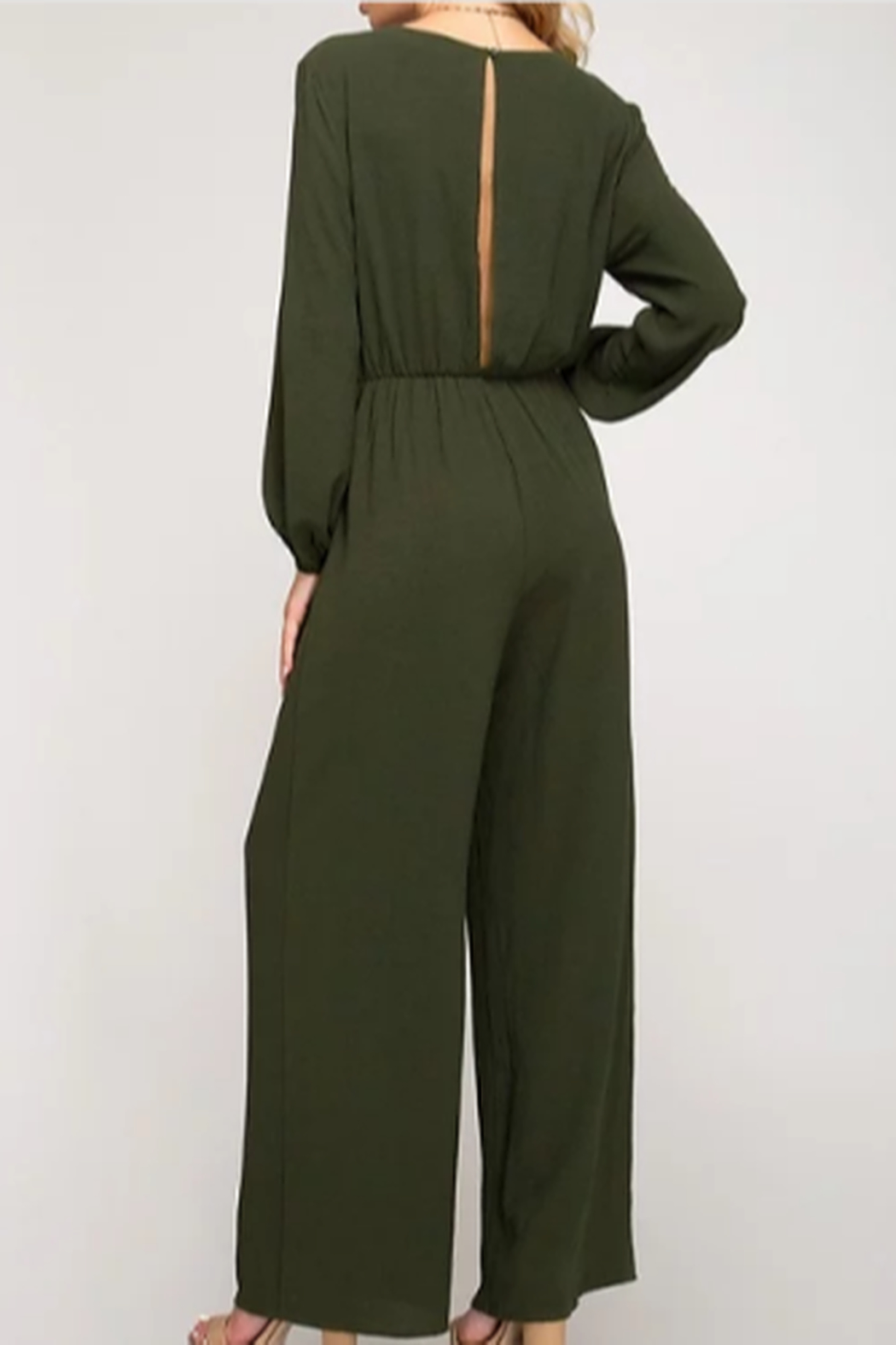 She + Sky Front Tie Jumpsuit - Front Full Image