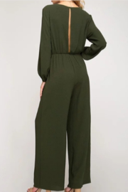 She + Sky Front Tie Jumpsuit - Front full body