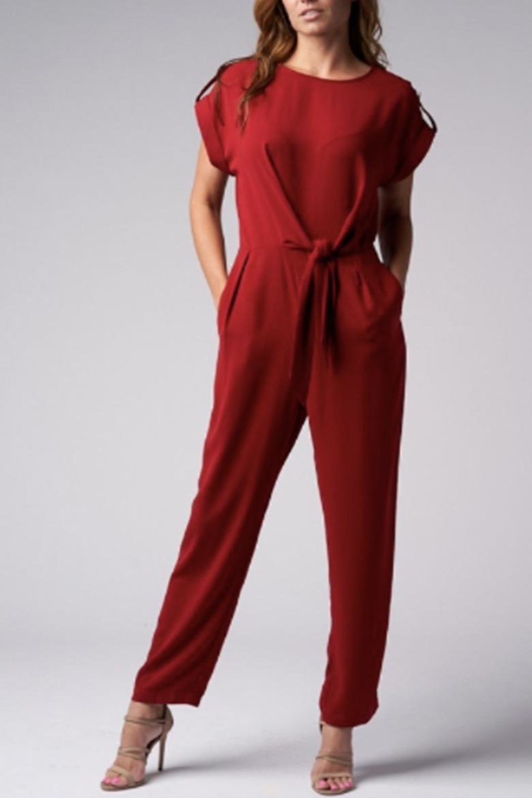 Blues & Greys  Front-Tie Jumpsuit Red - Main Image