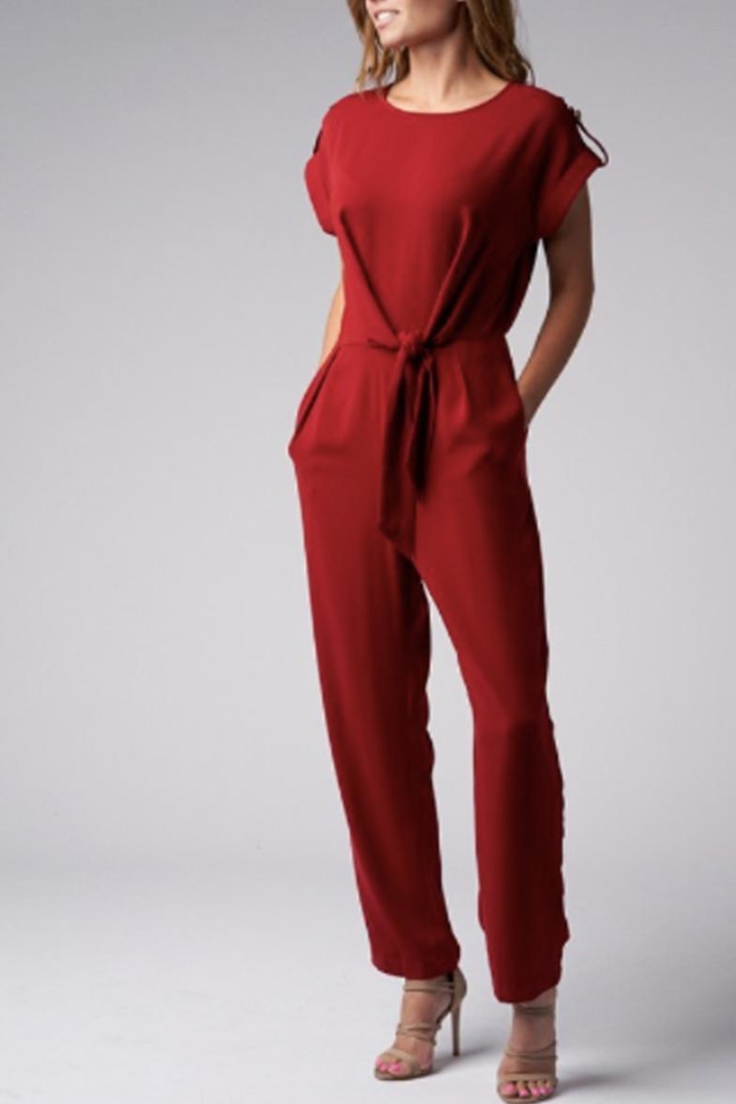 Blues & Greys  Front-Tie Jumpsuit Red - Front Full Image