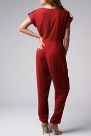 Blues & Greys  Front-Tie Jumpsuit Red - Side cropped