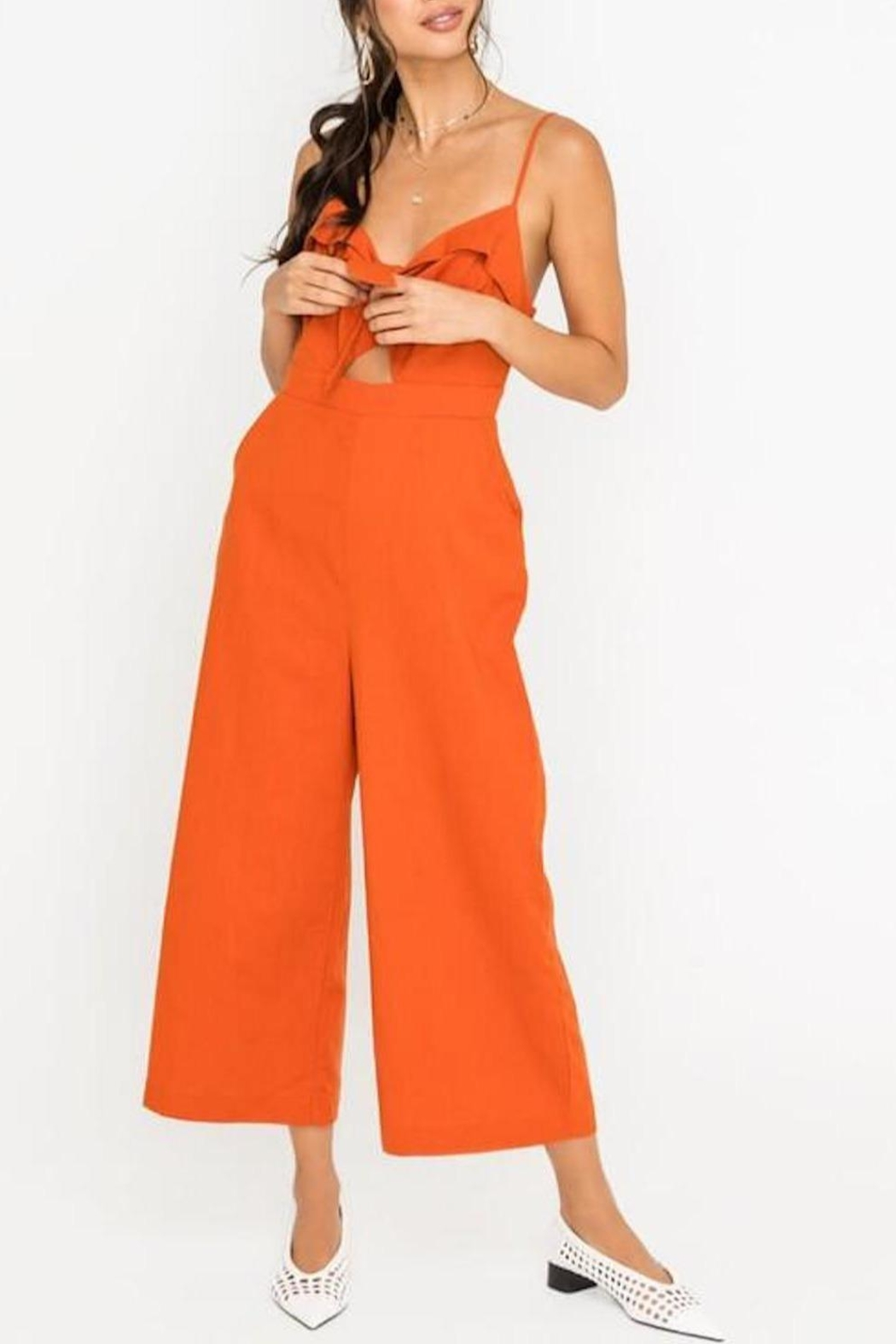 Lush Clothing  Front-Tie Linen Jumpsuit - Side Cropped Image