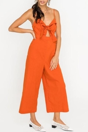 Lush Clothing  Front-Tie Linen Jumpsuit - Front cropped