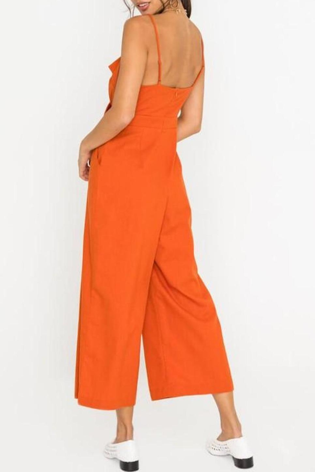 Lush Clothing  Front-Tie Linen Jumpsuit - Back Cropped Image
