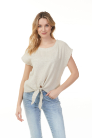 Charlie B Front Tie Linen Top - Product Mini Image