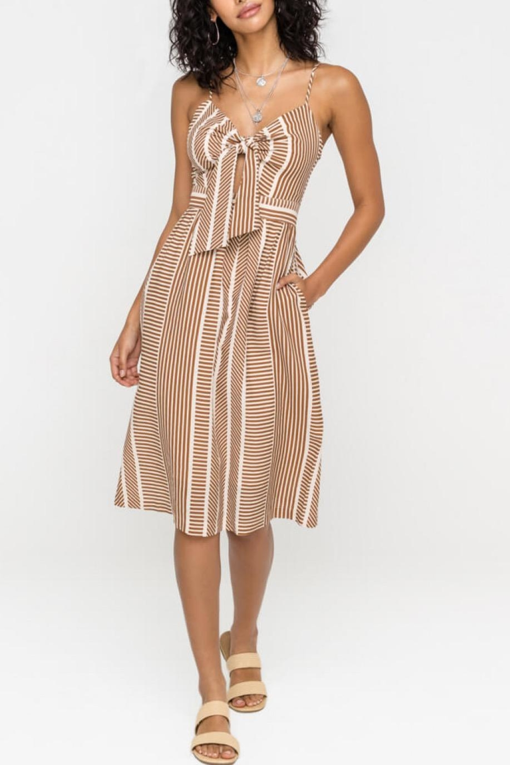 Lush Clothing  Front-Tie Midi Dress - Front Cropped Image