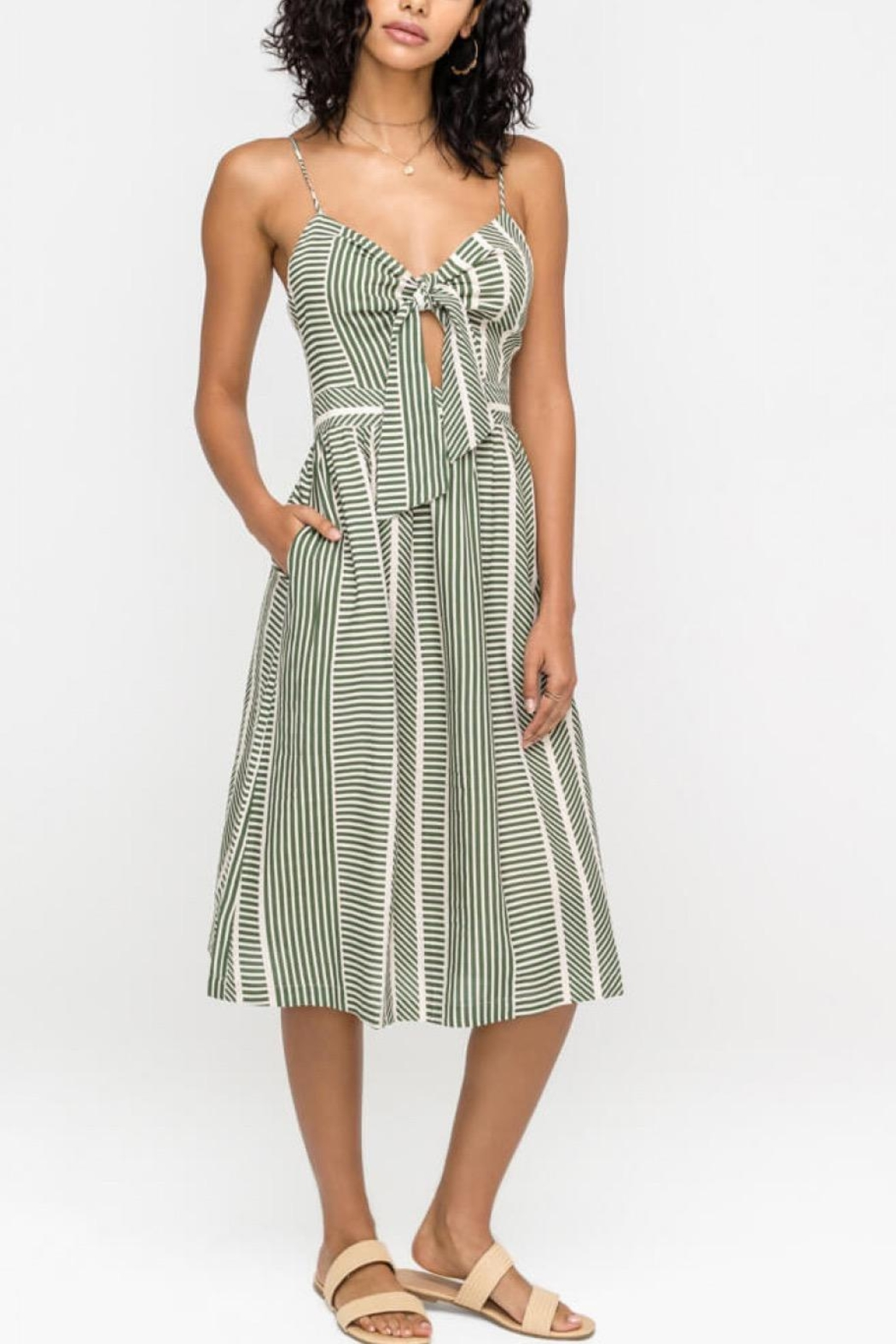 Lush Clothing  Front-Tie Midi Dress - Front Full Image