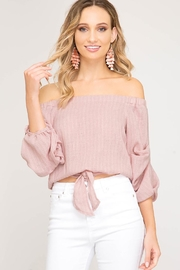 She + Sky Front-Tie Off-Shoulder Top - Product Mini Image