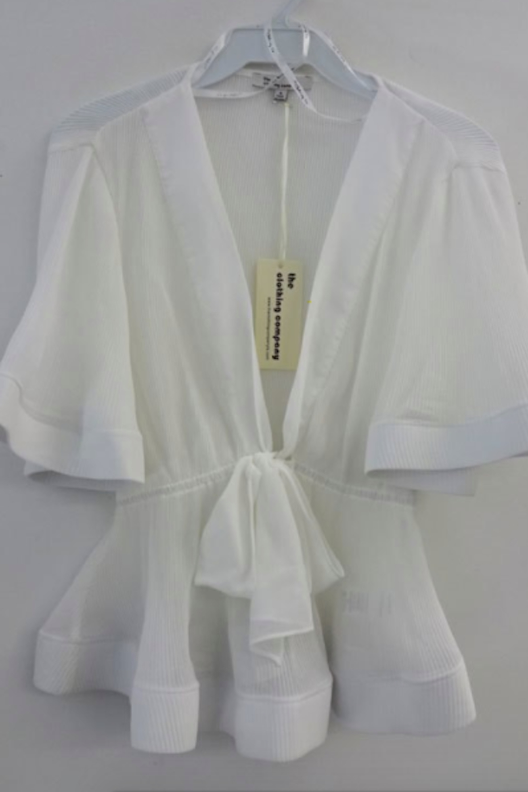 The Clothing Co Front Tie Pleat Top - Back Cropped Image
