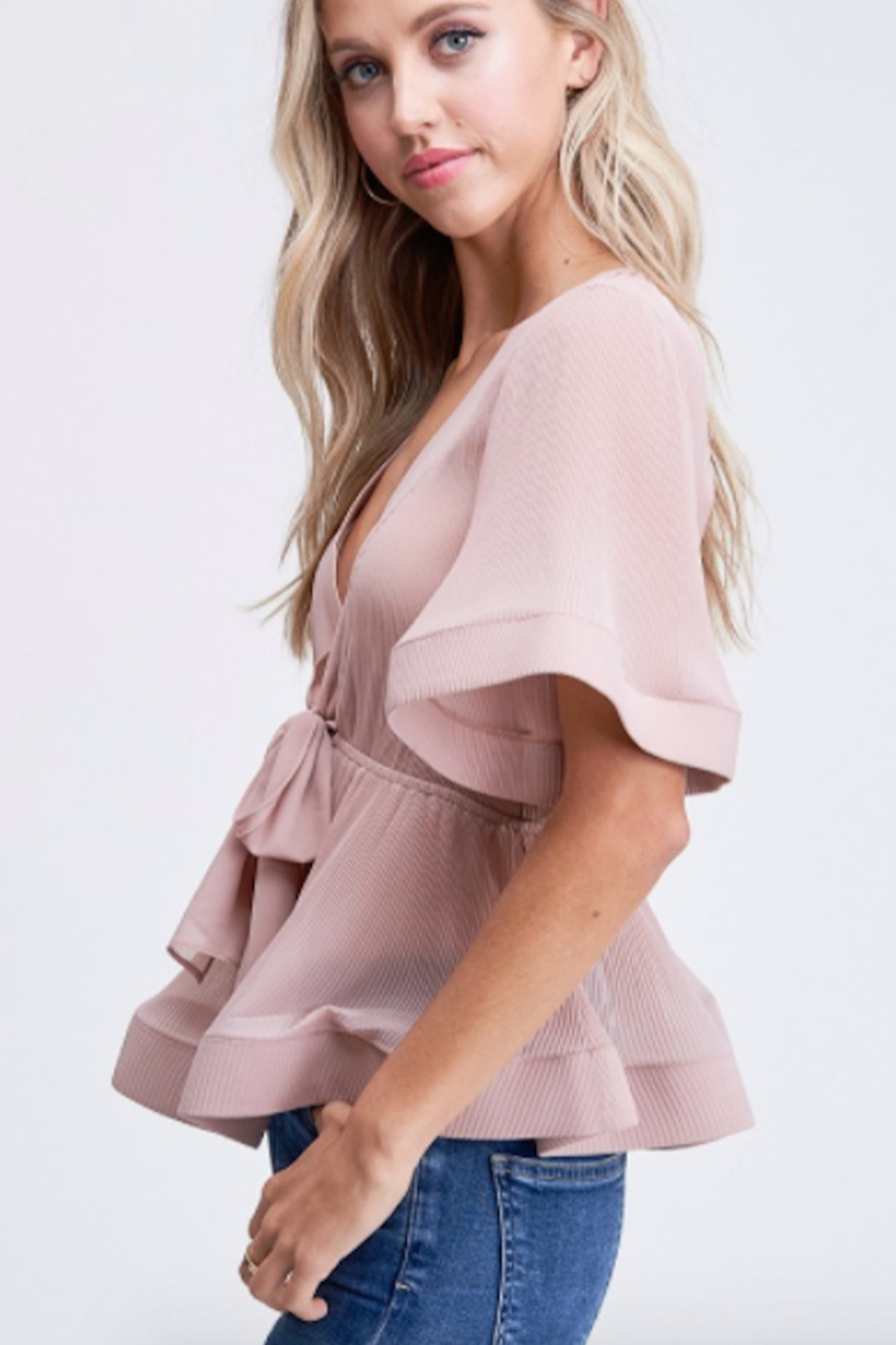 The Clothing Co Front Tie Pleat Top - Front Full Image
