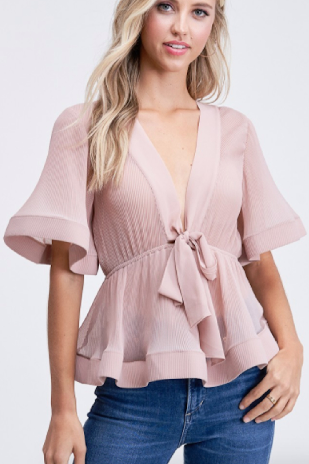 The Clothing Co Front Tie Pleat Top - Main Image