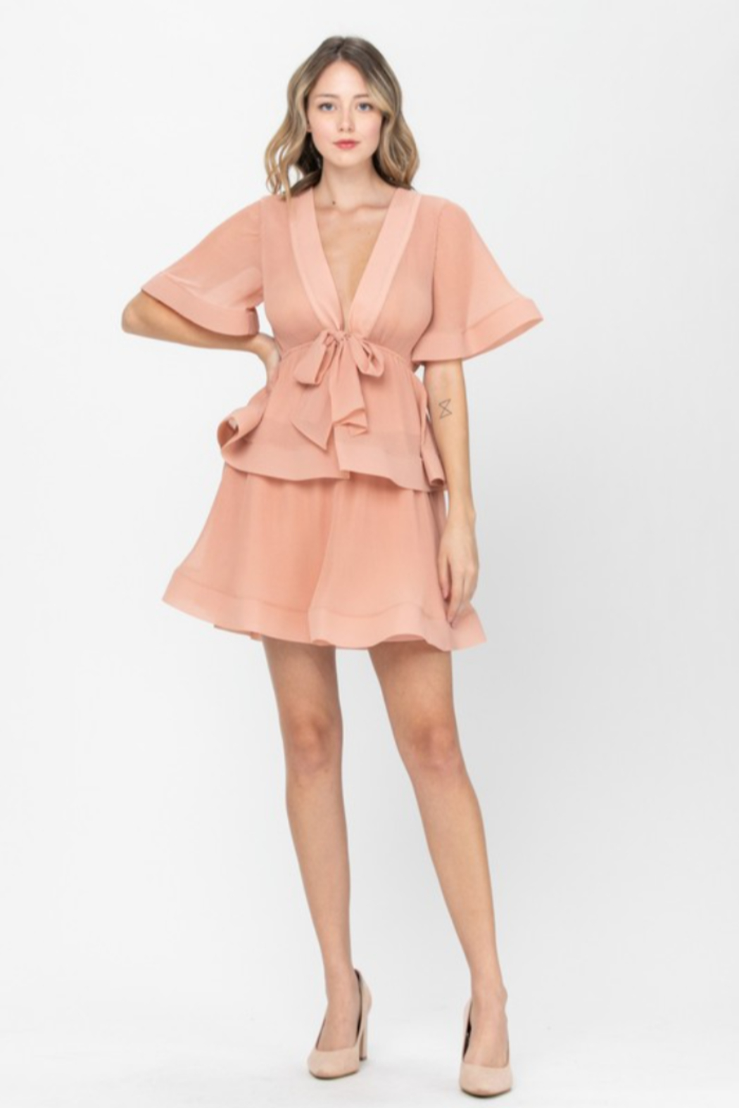 The Clothing Co Front Tie Pleated Ruffle Mini Dress - Front Cropped Image