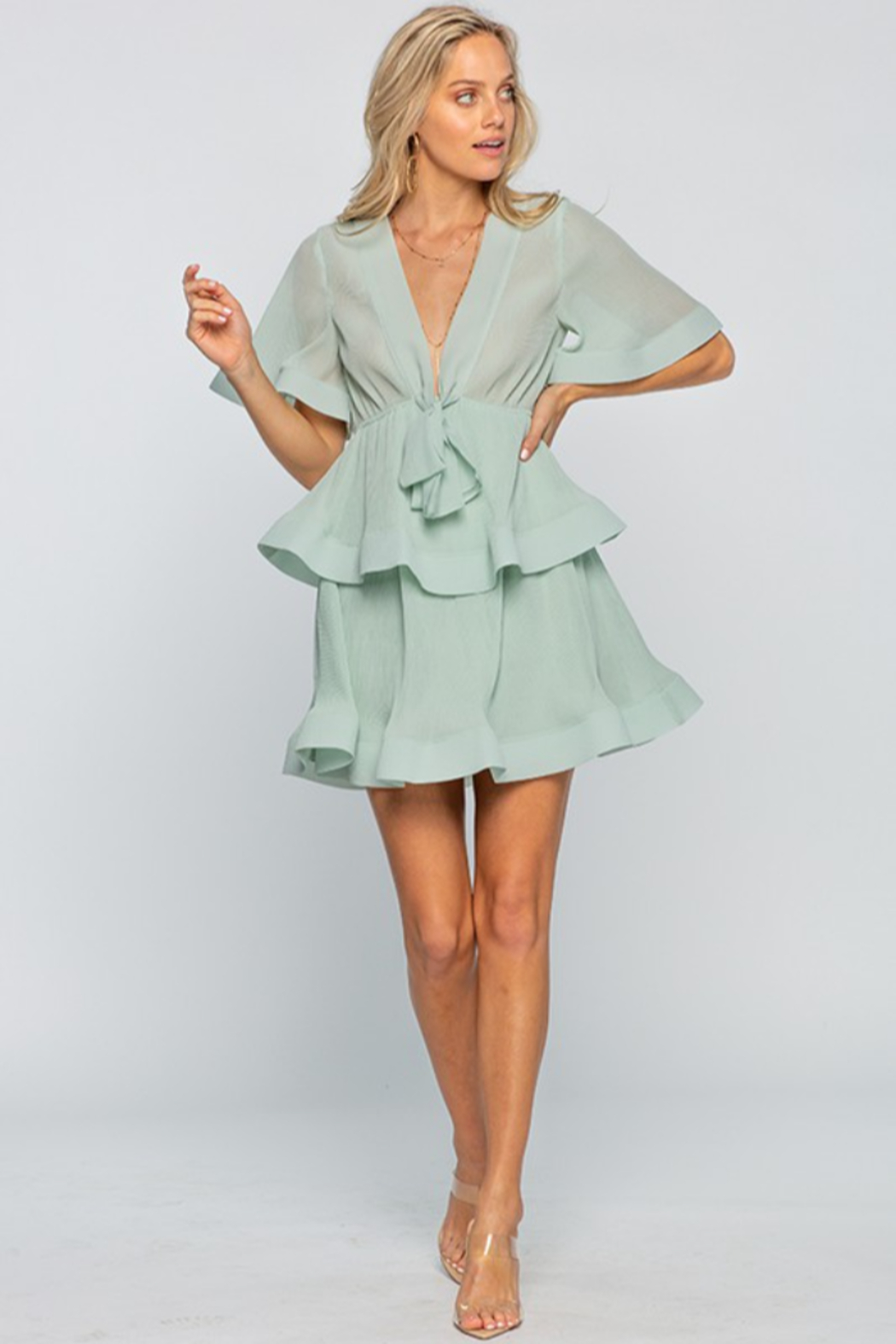 The Clothing Co Front Tie Pleated Ruffle Mini Dress - Main Image