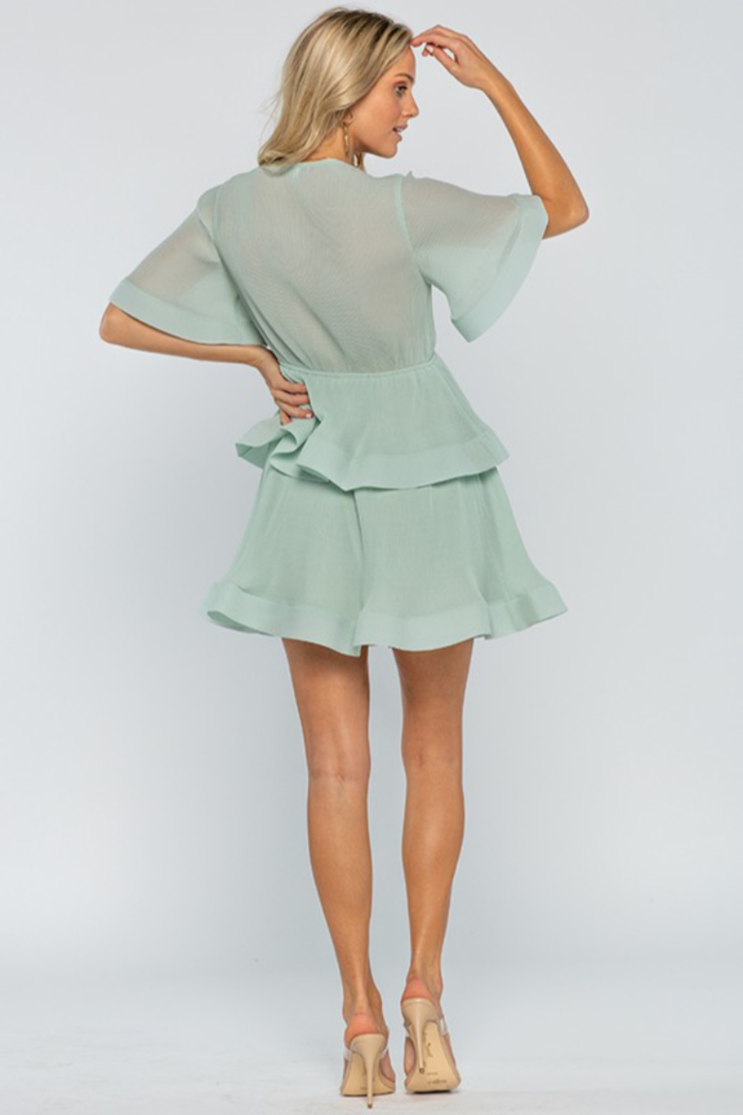 The Clothing Co Front Tie Pleated Ruffle Mini Dress - Side Cropped Image