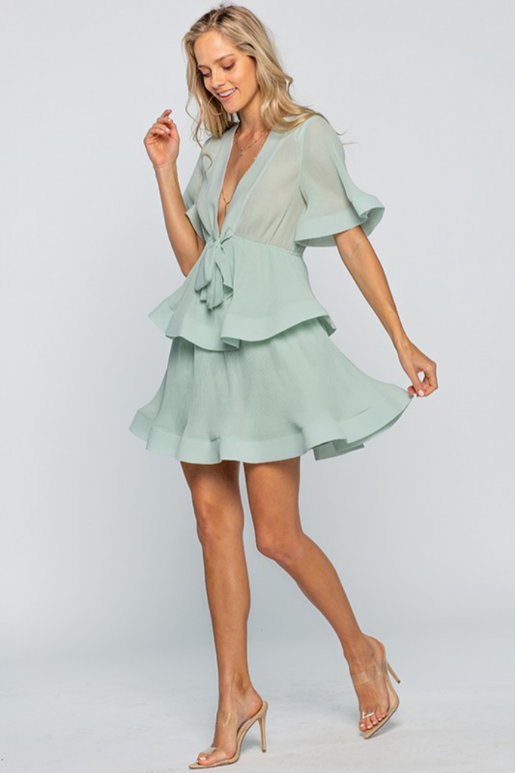 The Clothing Co Front Tie Pleated Ruffle Mini Dress - Front Full Image