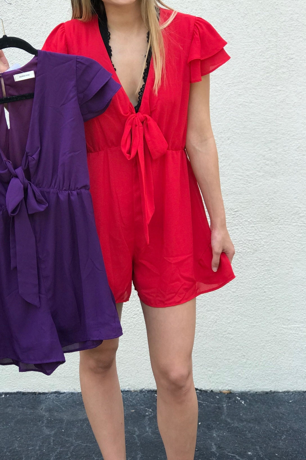 Adrienne Front Tie Romper - Front Cropped Image