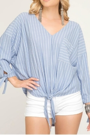 She + Sky Front-Tie Striped Blouse - Product Mini Image