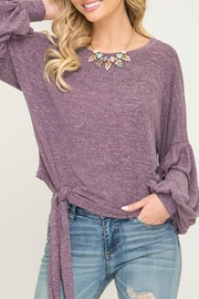 She + Sky Front Tie Sweater - Product Mini Image