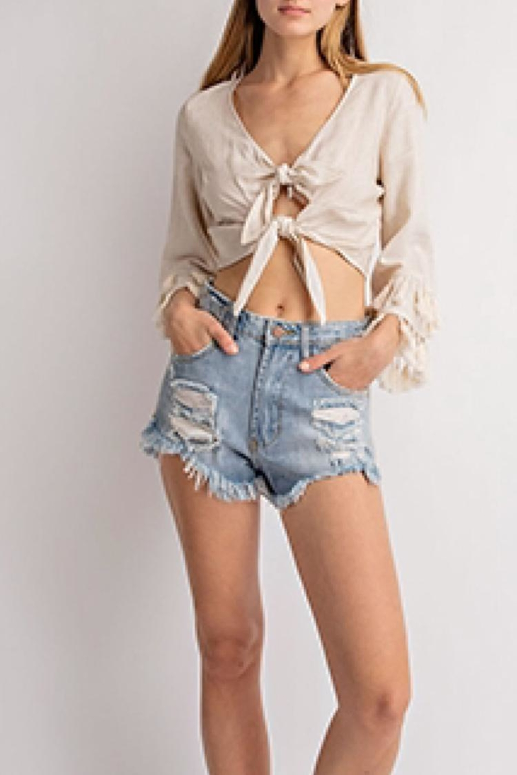 Le Lis Front-Tie Tassel Top - Front Cropped Image
