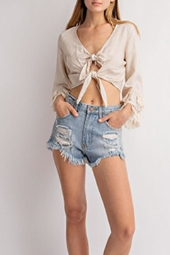 Le Lis Front-Tie Tassel Top - Alternate List Image