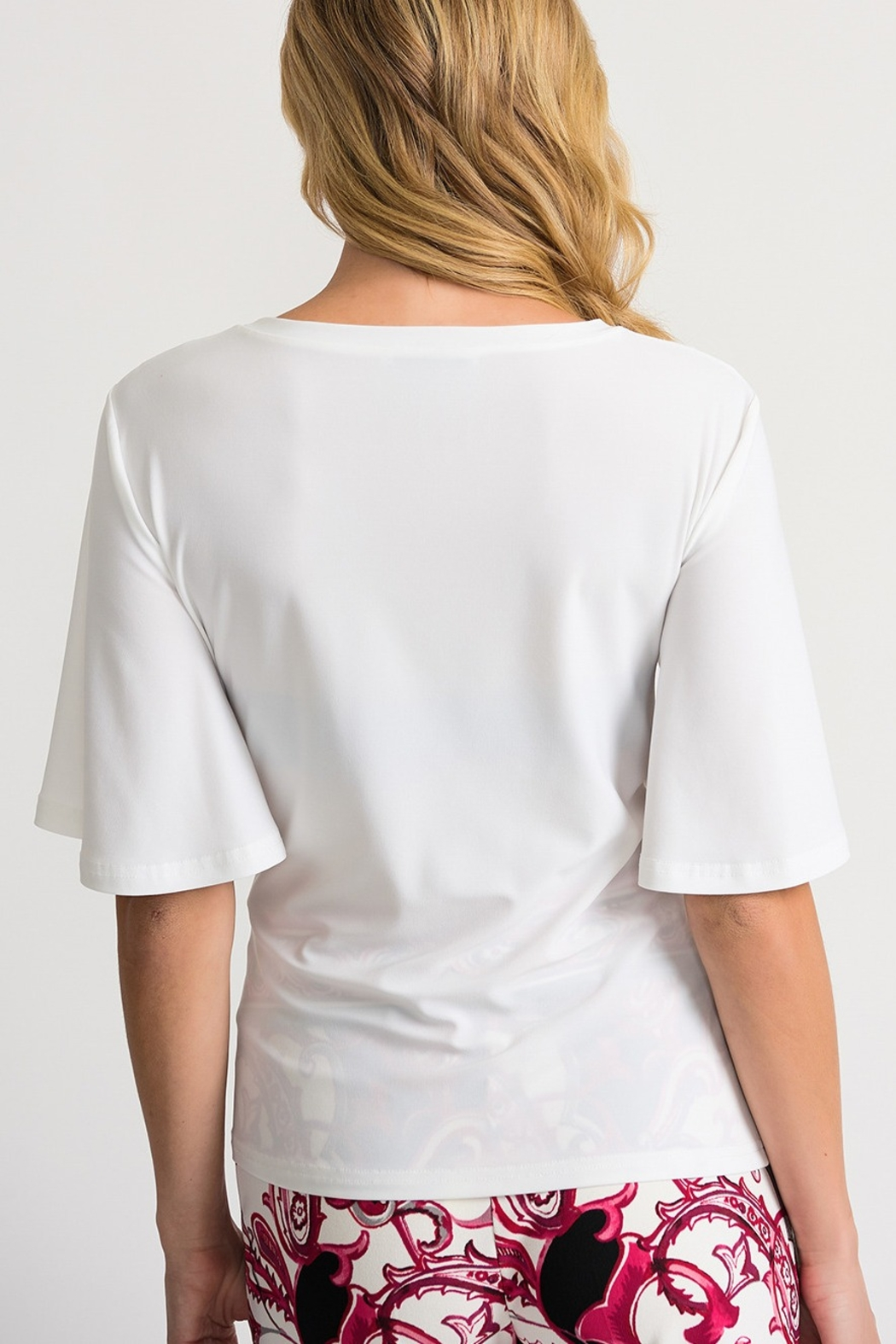 Joseph Ribkoff Front Tie Top, Vanilla - Side Cropped Image