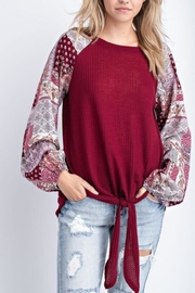 Gifted Front-Tie Waffle Top - Product Mini Image