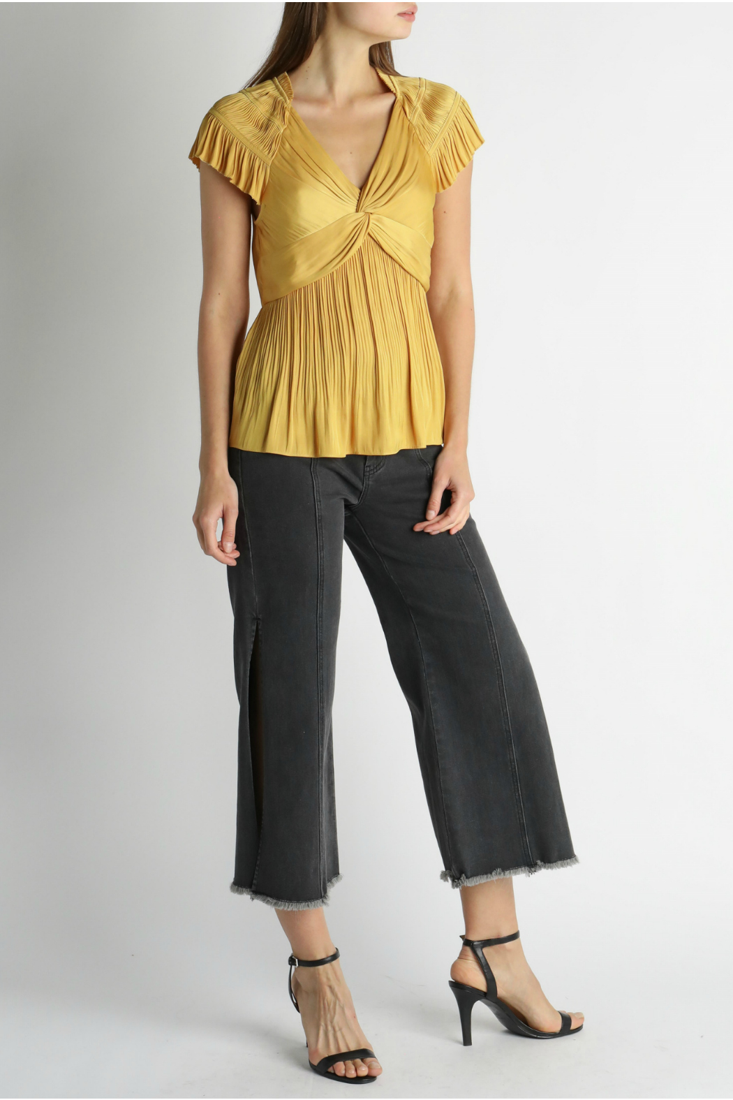 Current Air Front twist pleated top - Front Cropped Image