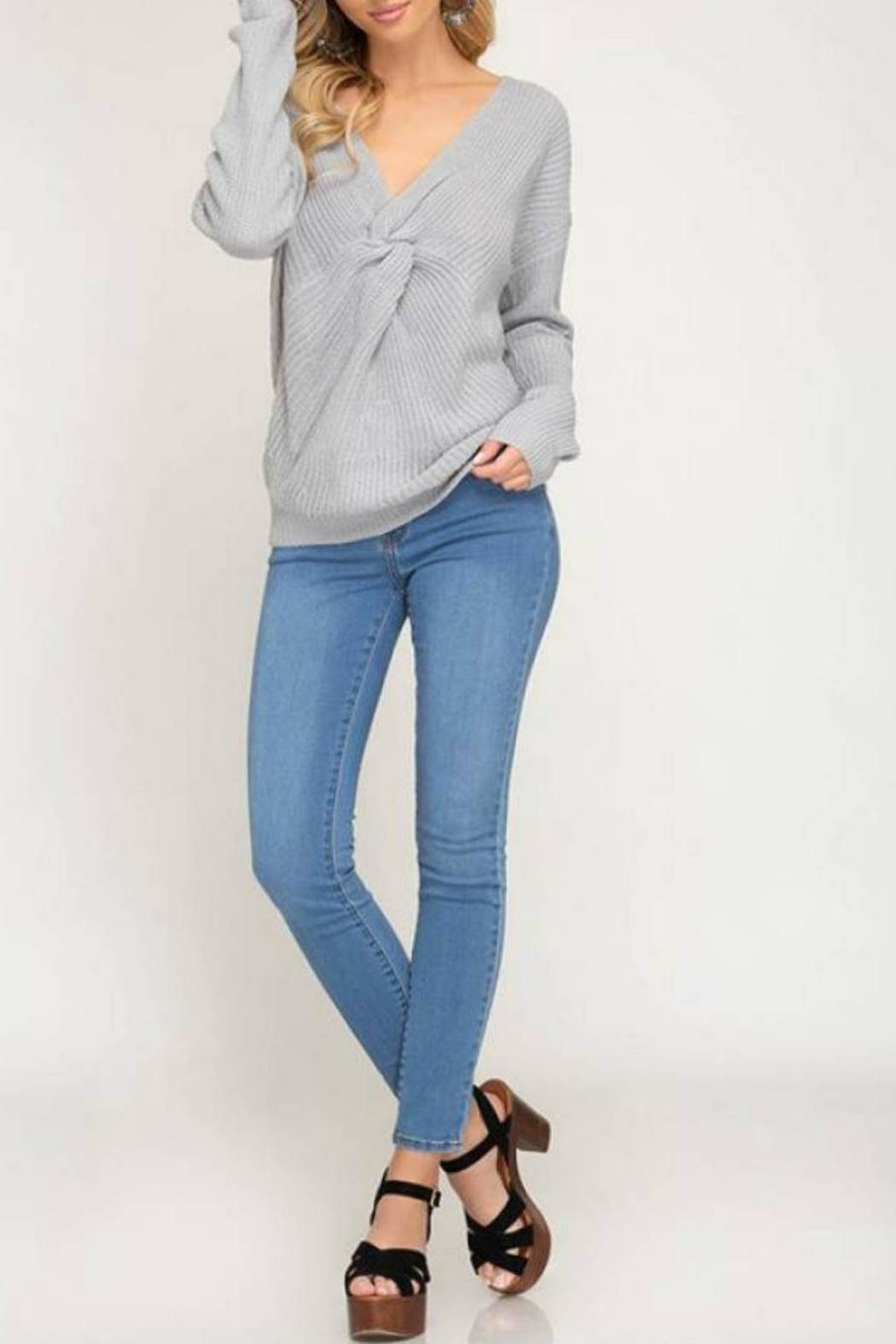a686be2a11 She + Sky Front-Twist Sweater from Statesboro by Sole — Shoptiques