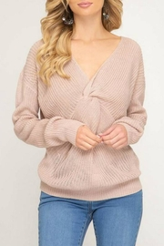 She + Sky Front-Twist Sweater - Product Mini Image
