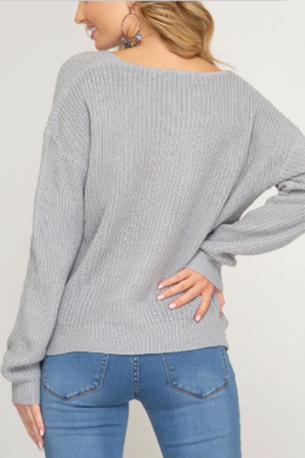 She + Sky Front Twist Sweater - Side Cropped Image
