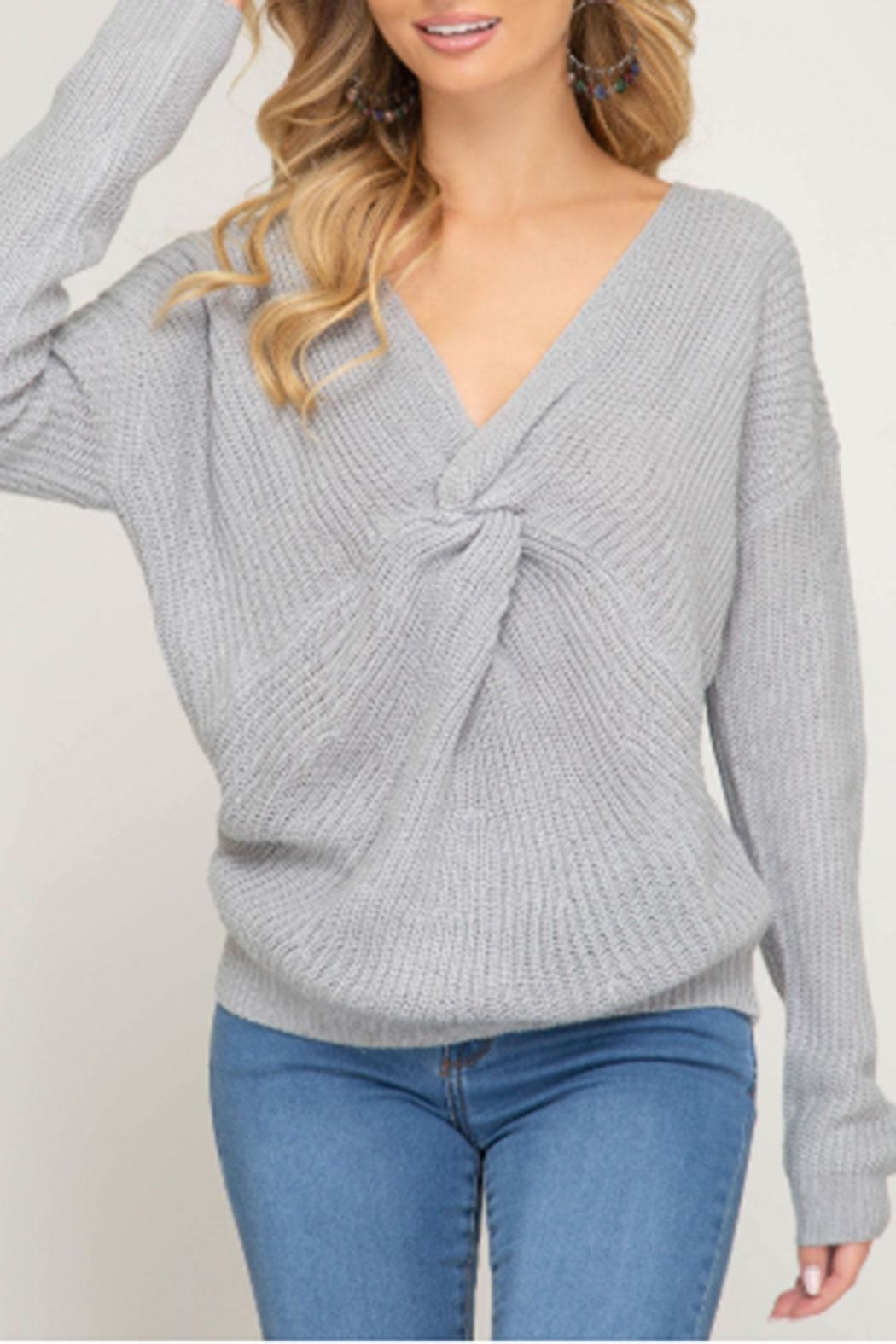 She + Sky Front Twist Sweater - Main Image