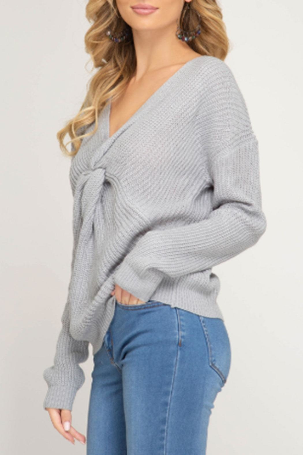 She + Sky Front Twist Sweater - Front Full Image