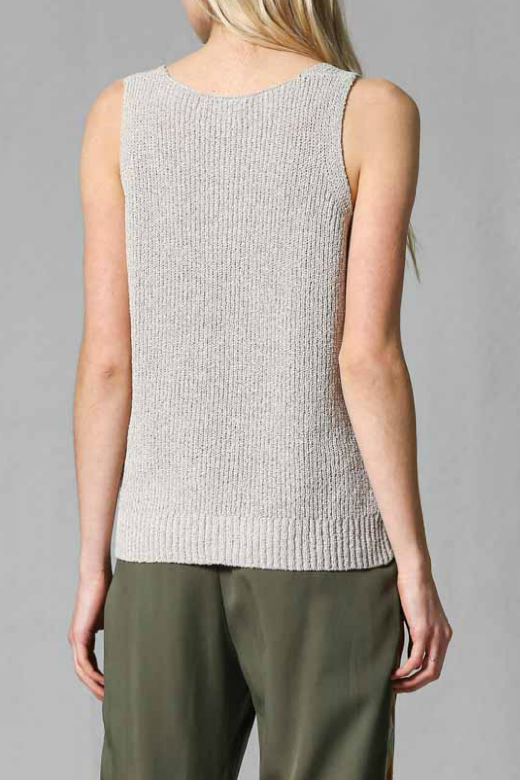 FATE by LFD Front twisted sweater tan top - Front Full Image