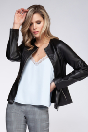 Dex Front Zip Faux Leather Jacket - Product Mini Image